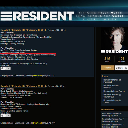 Hernan Cattaneo Plays My Remix On His Resident   Episode 145   February 15 2014