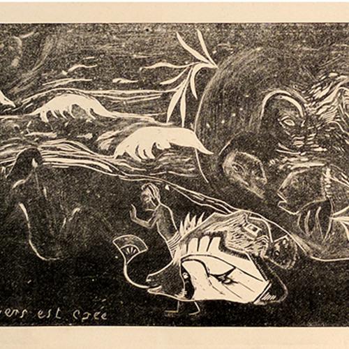 "Paul Gauguin, ""L'Univers Est Cree"", Woodblock print"