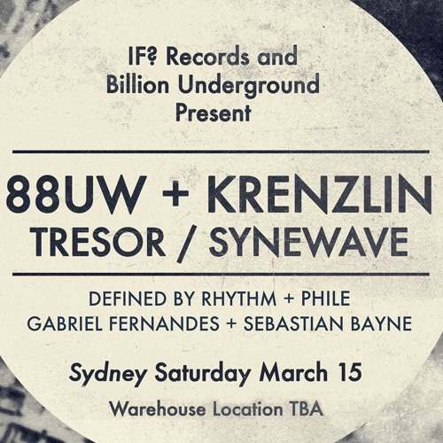 Krenzlin@Warehouse Sydney [Australia] (IF? Pres. Krenzlin)