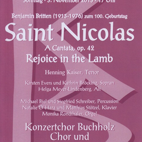 Benjamin Britten: God moves in a mysterious way (Schlusschor Saint Nicolas)