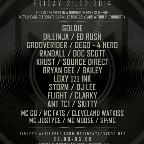 Grooverider & MC GQ - Metalheadz History Sessions @ Fire 21.02.14