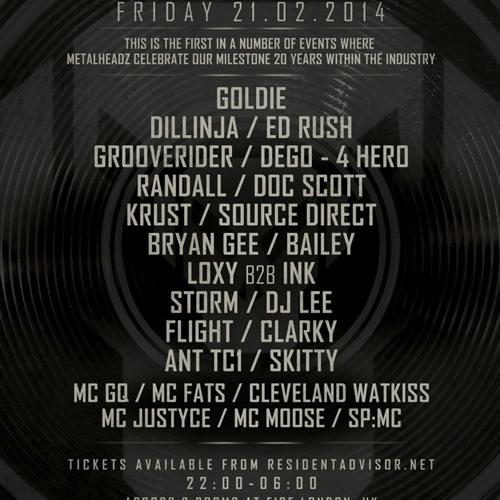 Grooverider & MC GQ - Metalheadz History Sessions @ Fire 21.02.14