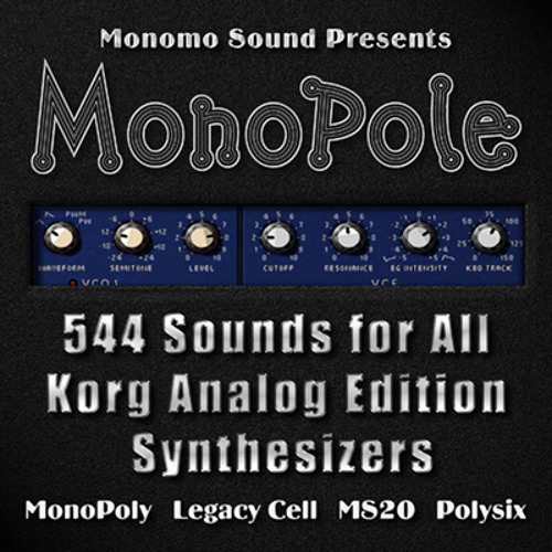 MonoPole Soundset for all Korg Analog Edition software synthesizers.