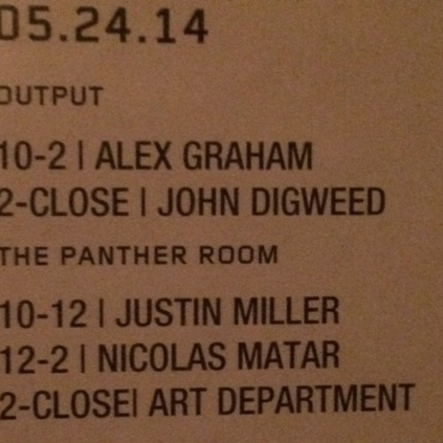 Alex Graham : Live @ Output NYC (4-hour set opening for John Digweed) May 24th, 2014