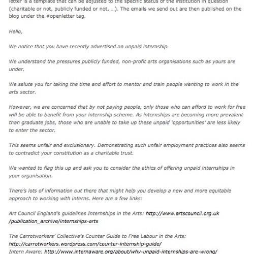 Unpaid Intern Offer Letter