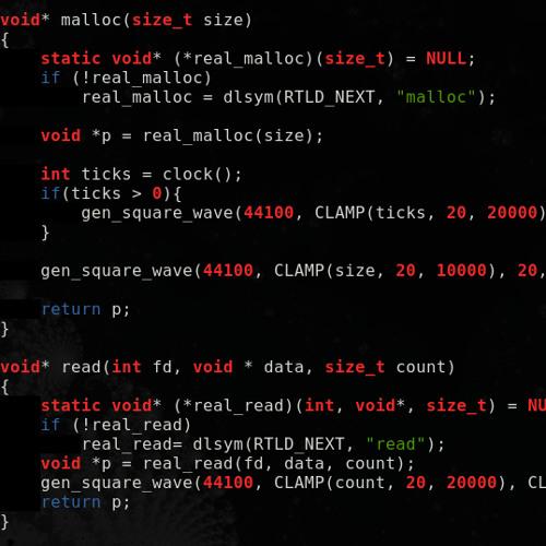 malloc() read() hook self-compile