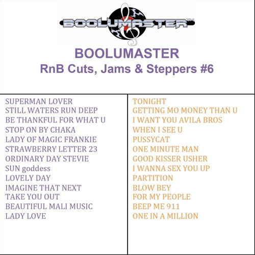 Rnb Cuts Jams & Steppers #6 Avail as Download or CD