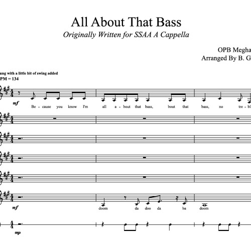 All About That Bass for SSAA A Cappella by BGE Theory A Cappella