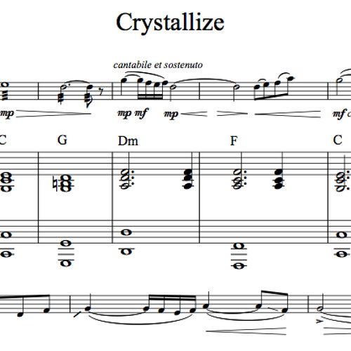 Crystallize Piano Accompaniment Sample By LS Sheet Music