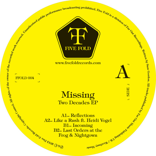 """A2 Missing - Like a Rush feat. Heidi Vogel (12""""/DL out Dec.1 - Five Fold Records)"""