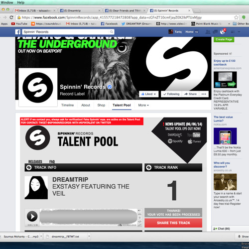 Extasy featuring The Veil(#1 on Spinnin Records Talent Pool)