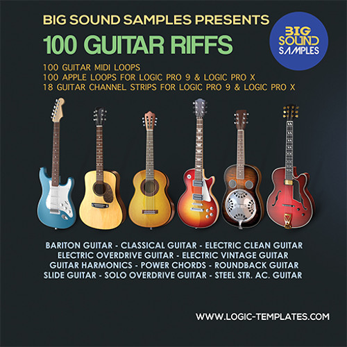 100 Guitar Riffs (Apple Loops-Midi Loops-Channels Strips)Logic 9-10/X