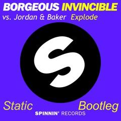 Jordan & Baker Vs. Borgeous - Invincible Explode (Static Hardstyle Bootleg)