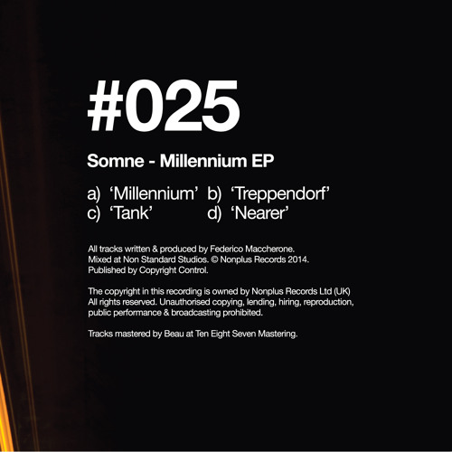 NONPLUS 025 - Somne - Millenium EP