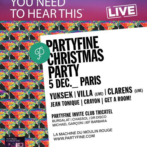 PARTYFINE CHRISTMAS PARTY - 5 DEC Billets http://bit.ly/10ZDmwa Première mixtape collective chez Partyfine music. A l'occasion de la soirée du 5 décembre à Paris, Partyfine invite les artistes du lin