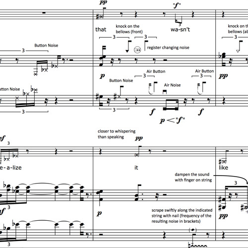 self-aware (2011) for a male accordionist and a female pianist