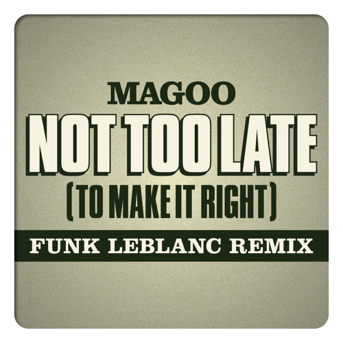 Not Too Late (To Make It Right) feat. Magoo