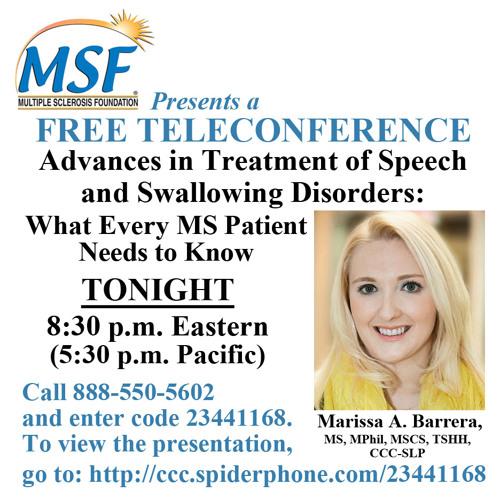 Speech and Swallowing - Marissa Barrera Teleconference - January 2015