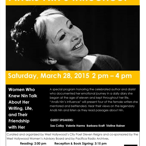 Anais Nin's Influence Event March 28, 2015