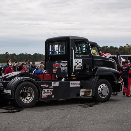 Mike Morgan on a victory lap after inaugural ChampTruck Class 8 racing event