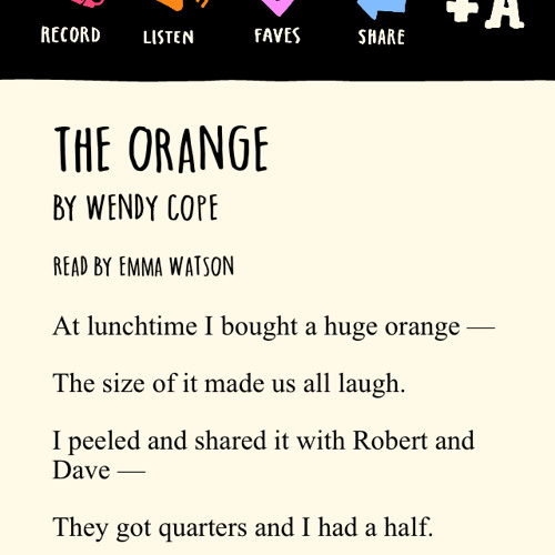Emma Watson reads The Orange By Wendy Cope (FROM THE LOVE BOOK APP)