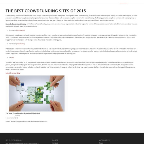 The Best Crowd Funding Sites
