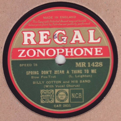 """Billy Cotton & his Band """"Spring don't mean a thing to me"""" 1934"""