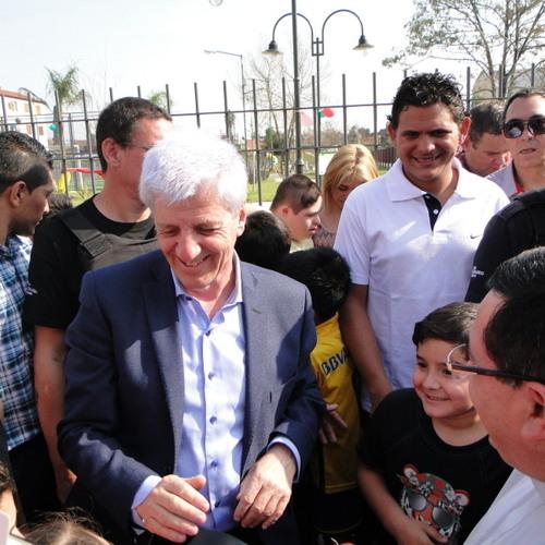 Andreotti en la inauguración Plaza El Obrador