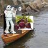 Rødbet-robot i robåt