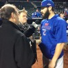 Cubs SP Jake Arrieta watching the Mets hitters, Jon Lester closely tonight before Game Two