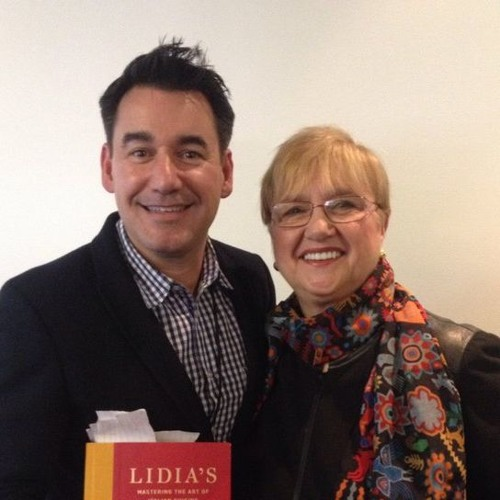 Joel Riddell with Lidia Bastianich on Dining Around