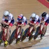 Emily Nelson, Megan Barker and Manon Lloyd at the UCI Track Cycling World Cup