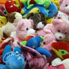 bedful of plush animals