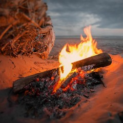 Campfire Sounds on the Beach, Ocean waves, Nature Sounds for sleep, study #N012