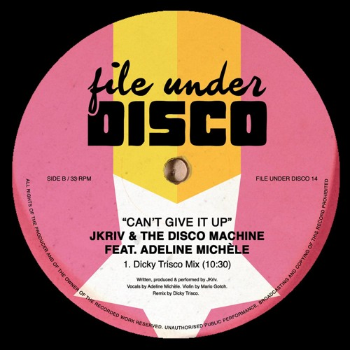 File Under Disco 14 - JKriv & the Disco Machine - Can't Give It Up (Dicky Trisco Mix) - CLIP