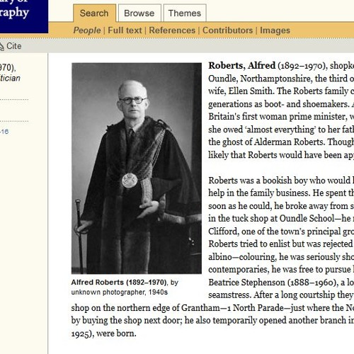 Alfred Roberts (1892-1970), grocer and father of Margaret Thatcher
