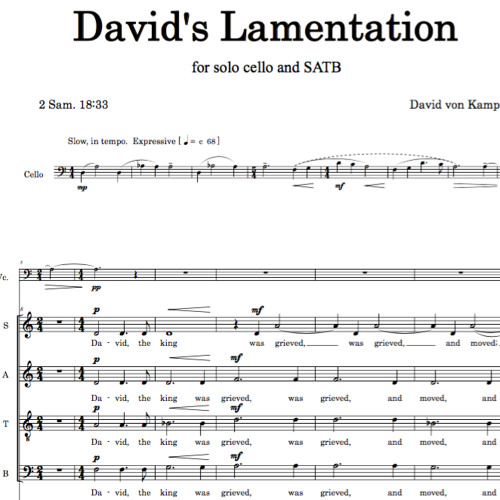 DAVID'S LAMENTATION (SATB, solo cello) - Taiwan Youth Festival Chorus