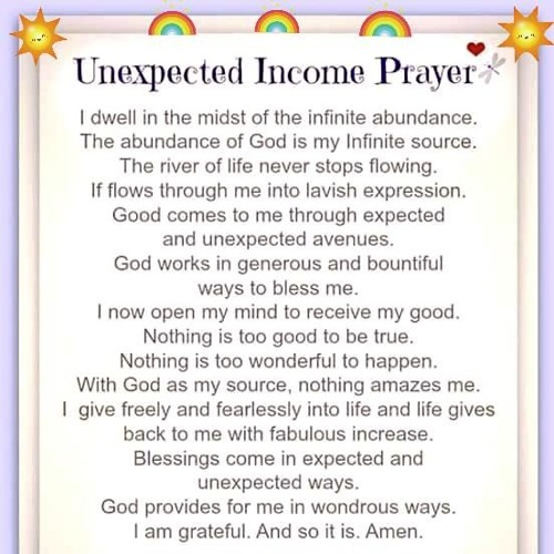 UnExpected Income Prayer