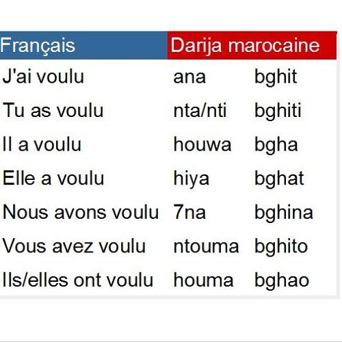 Conjugaison Du Verbe Vouloir Bgha Au Passe En Darija Marocaine By Darija Marocaine
