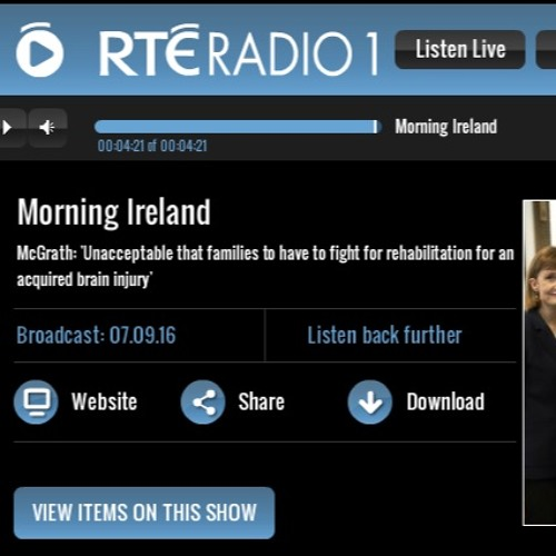 Morning Ireland #1 on NeuroRehab and Shane Grogan