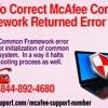 How To Correct McAfee Common Framework Returned Error ffffff?