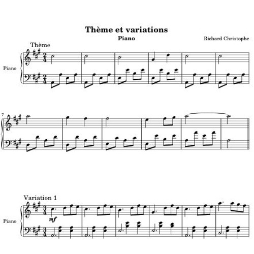 Theme Et Variations La Majeur