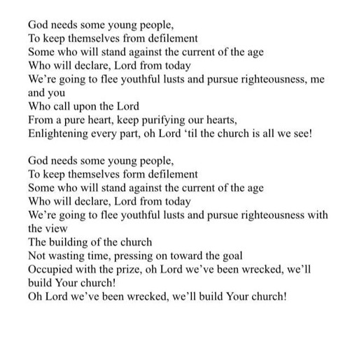 God Needs Some Young People