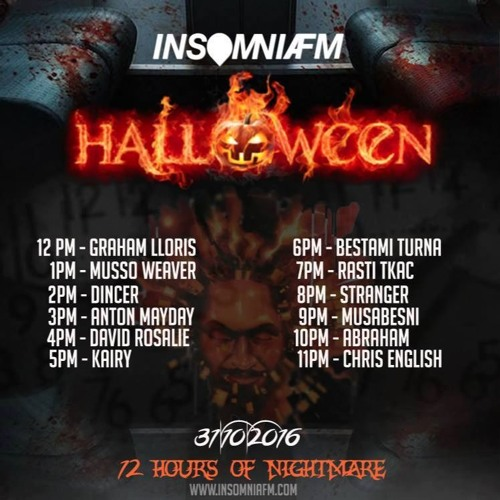 Chris Subject English Halloween 12 Hours of Nightmare mixed set on INSOMNIAFM