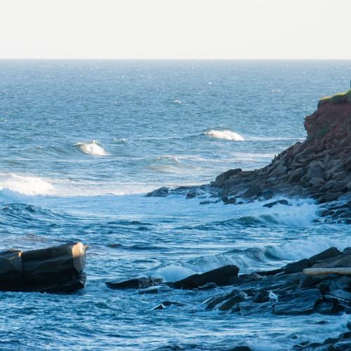 La Bloc Beach waves on pebble beach in Cape Breton Highlands National Park