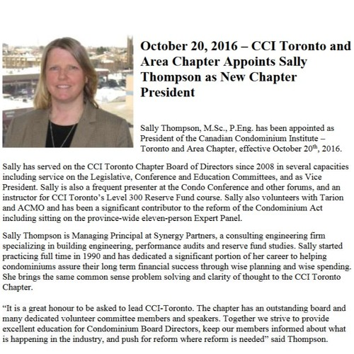 An Interview with President Sally Thompson   Winter 2016