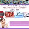 Generic of Branded Drug Arimidex : ANASTROZOLE 1 MG TABLET @ US$ 0.87