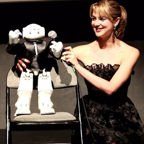 Heather Knight and the digitally altered robot photo.