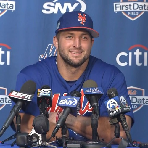 Tim Tebow arrives at Mets camp and meets the media
