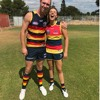 Adelaide Crows Tom Lynch with Adelaide women's Ebony Marinoff